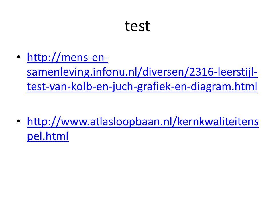 test http://mens-en- samenleving.infonu.nl/diversen/2316-leerstijl- test-van-kolb-en-juch-grafiek-en-diagram.html http://mens-en- samenleving.infonu.nl/diversen/2316-leerstijl- test-van-kolb-en-juch-grafiek-en-diagram.html http://www.atlasloopbaan.nl/kernkwaliteitens pel.html http://www.atlasloopbaan.nl/kernkwaliteitens pel.html