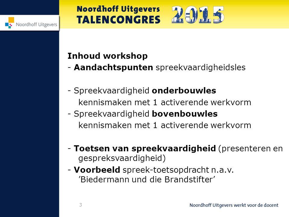 Inhoud workshop - Aandachtspunten spreekvaardigheidsles - Spreekvaardigheid onderbouwles kennismaken met 1 activerende werkvorm - Spreekvaardigheid bo