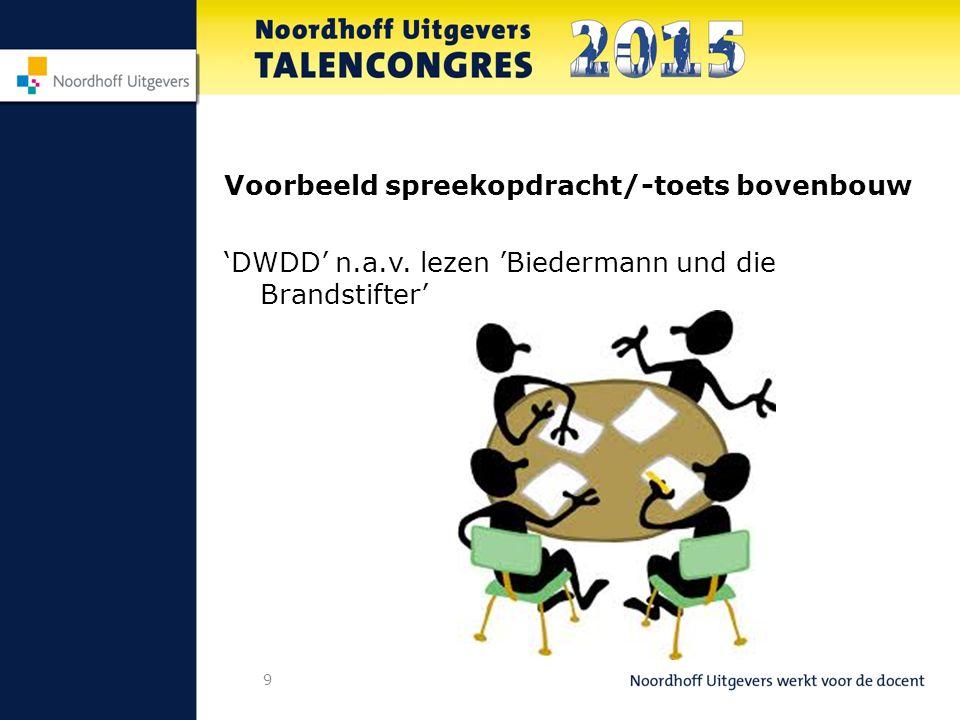 Voorbeeld spreekopdracht/-toets bovenbouw 'DWDD' n.a.v. lezen 'Biedermann und die Brandstifter' 9