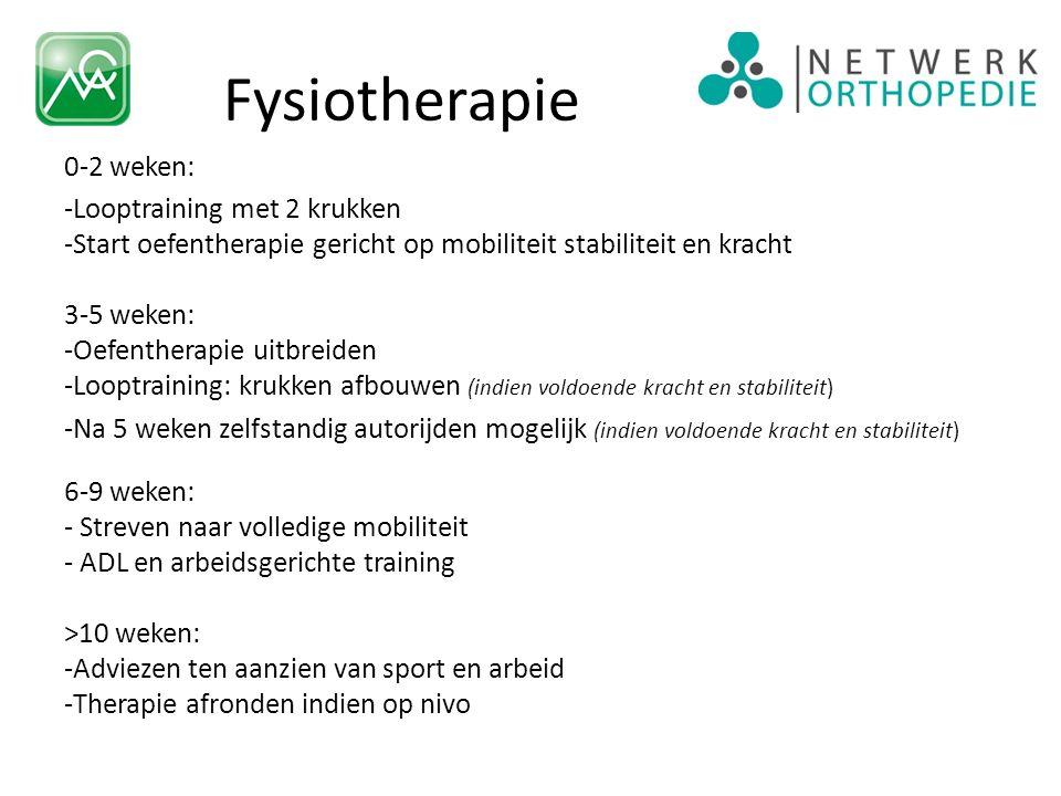 Fysiotherapie 0-2 weken: -Looptraining met 2 krukken -Start oefentherapie gericht op mobiliteit stabiliteit en kracht 3-5 weken: -Oefentherapie uitbre