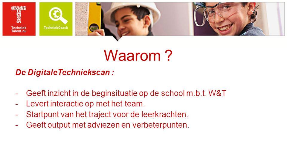 Waarom ? De DigitaleTechniekscan : -Geeft inzicht in de beginsituatie op de school m.b.t. W&T -Levert interactie op met het team. -Startpunt van het t