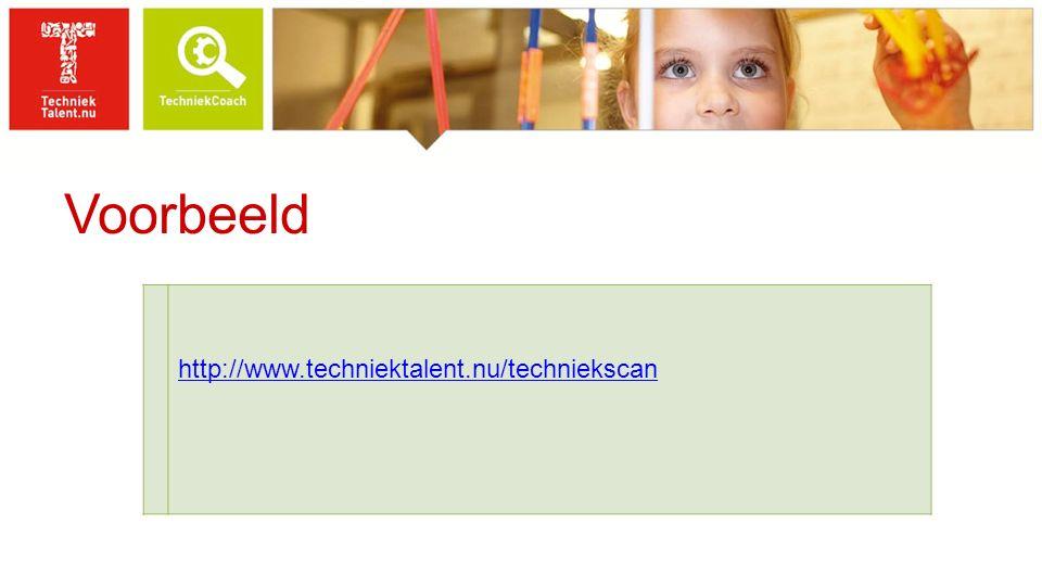 Voorbeeld http://www.techniektalent.nu/techniekscan