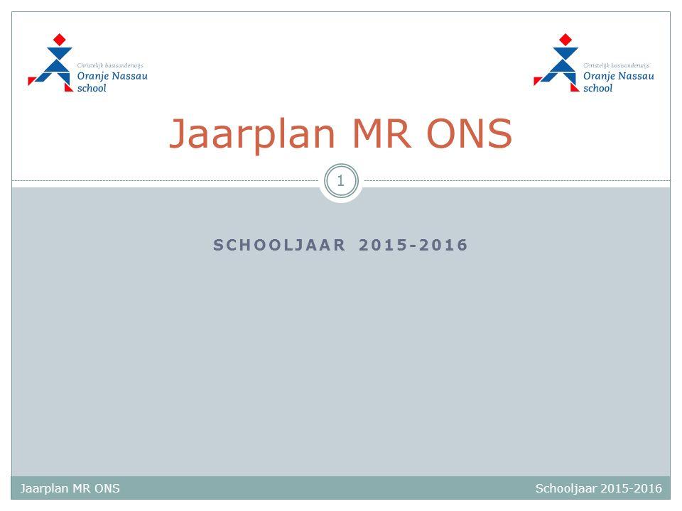 Schooljaar 2015-2016 Jaarplan MR ONS SCHOOLJAAR 2015-2016 Jaarplan MR ONS 1