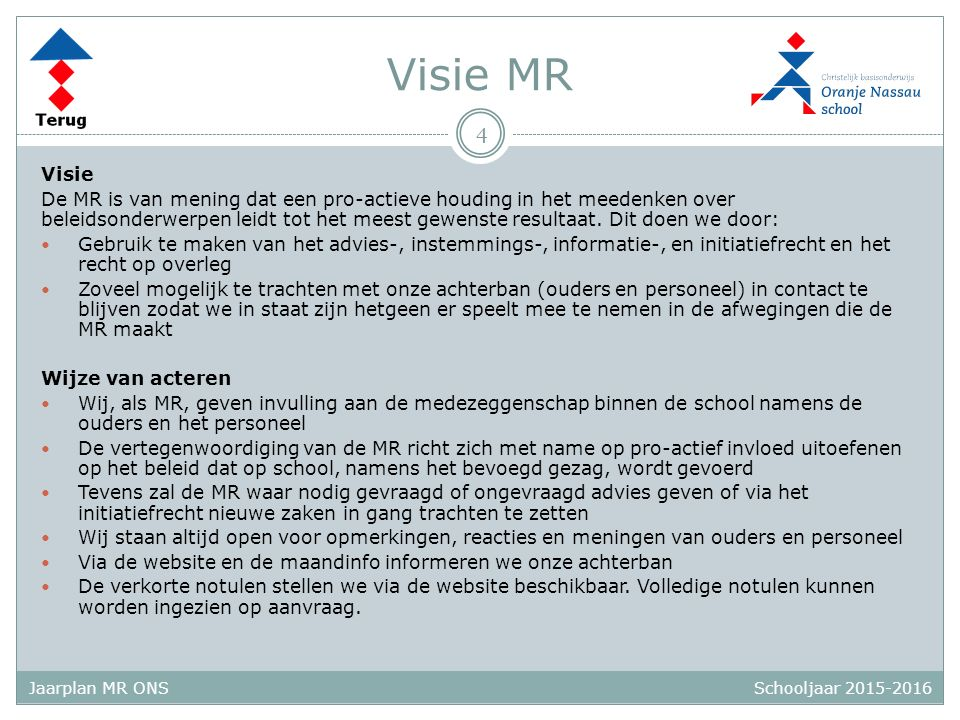 Schooljaar 2015-2016 Jaarplan MR ONS Visie MR Visie De MR is van mening dat een pro-actieve houding in het meedenken over beleidsonderwerpen leidt tot het meest gewenste resultaat.