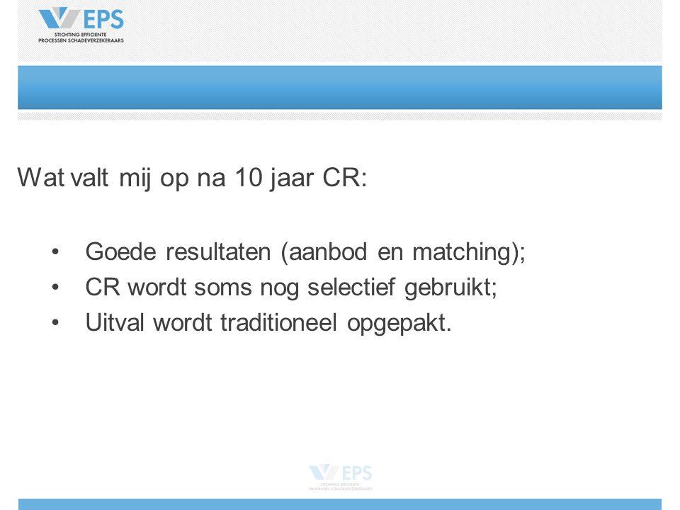 Wat valt mij op na 10 jaar CR: Goede resultaten (aanbod en matching); CR wordt soms nog selectief gebruikt; Uitval wordt traditioneel opgepakt.