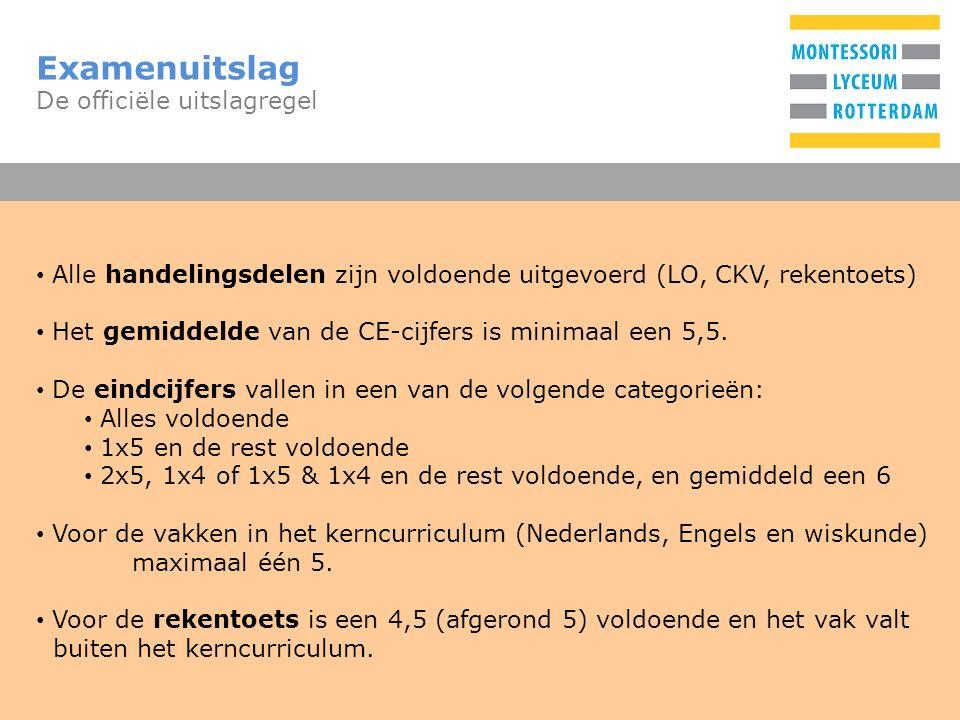 T Examenuitslag De officiële uitslagregel Alle handelingsdelen zijn voldoende uitgevoerd (LO, CKV, rekentoets) Het gemiddelde van de CE-cijfers is minimaal een 5,5.