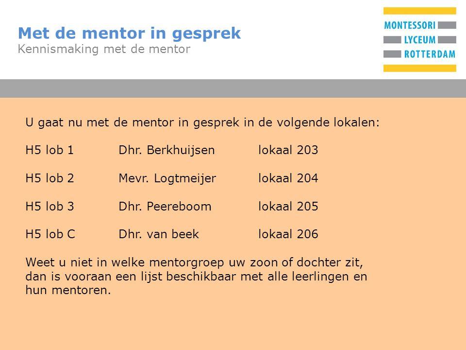 T Met de mentor in gesprek Kennismaking met de mentor U gaat nu met de mentor in gesprek in de volgende lokalen: H5 lob 1Dhr. Berkhuijsenlokaal 203 H5