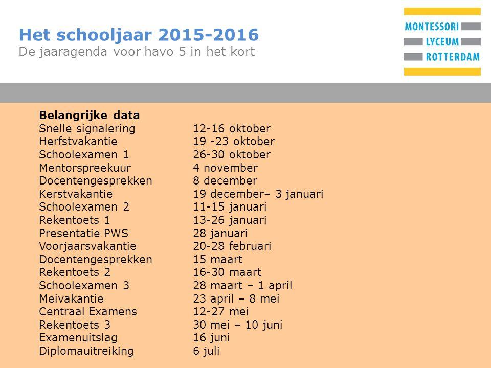 T Het schooljaar 2015-2016 De jaaragenda voor havo 5 in het kort Belangrijke data Snelle signalering12-16 oktober Herfstvakantie19 -23 oktober Schoole