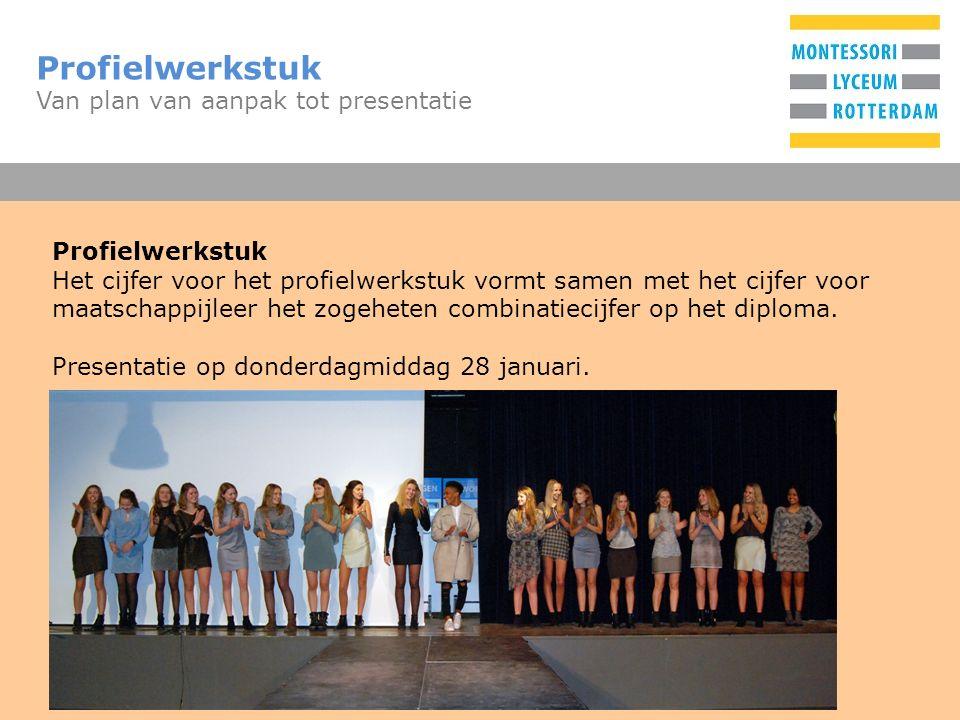 T Profielwerkstuk Van plan van aanpak tot presentatie Profielwerkstuk Het cijfer voor het profielwerkstuk vormt samen met het cijfer voor maatschappij
