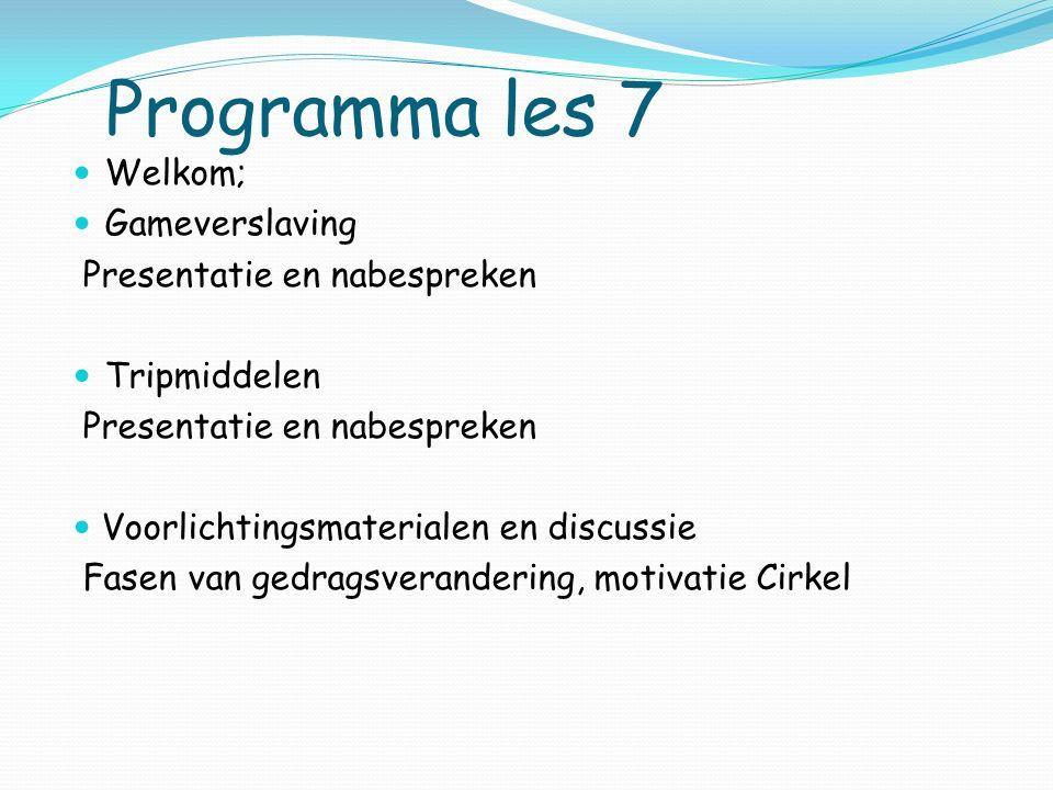 Programma les 7 Welkom; Gameverslaving Presentatie en nabespreken Tripmiddelen Presentatie en nabespreken Voorlichtingsmaterialen en discussie Fasen v