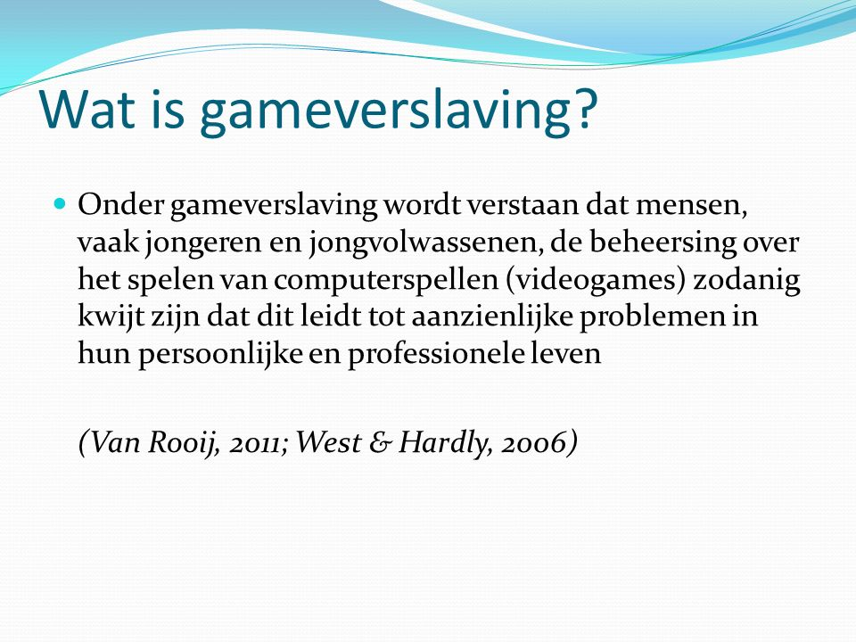 Wat is gameverslaving.