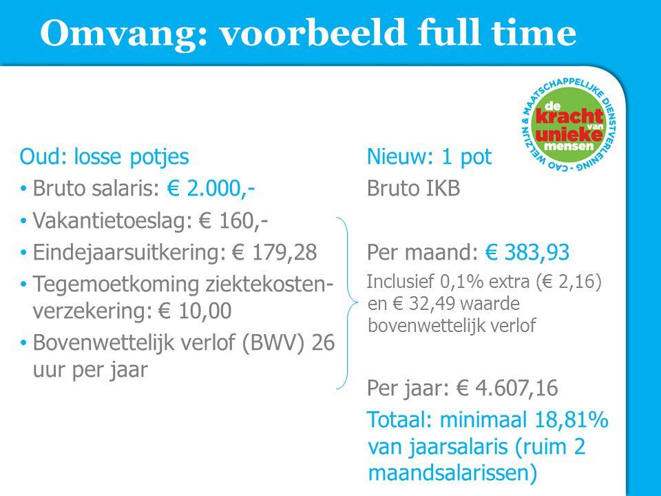 Omvang: voorbeeld full time Oud: losse potjes Bruto salaris: € 2.000,- Vakantietoeslag: € 160,- Eindejaarsuitkering: € 179,28 Tegemoetkoming ziektekos