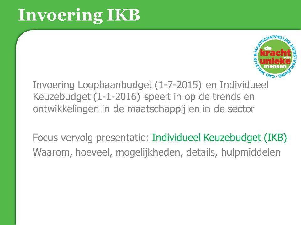 Invoering IKB Invoering Loopbaanbudget (1-7-2015) en Individueel Keuzebudget (1-1-2016) speelt in op de trends en ontwikkelingen in de maatschappij en in de sector Focus vervolg presentatie: Individueel Keuzebudget (IKB) Waarom, hoeveel, mogelijkheden, details, hulpmiddelen