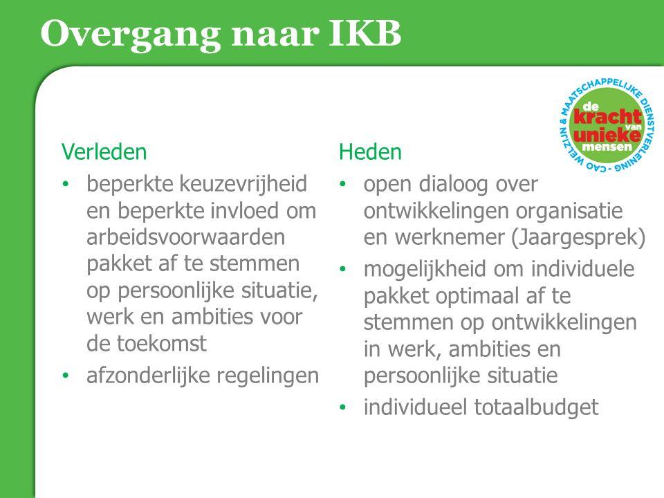 Overgang naar IKB Verleden beperkte keuzevrijheid en beperkte invloed om arbeidsvoorwaarden pakket af te stemmen op persoonlijke situatie, werk en amb