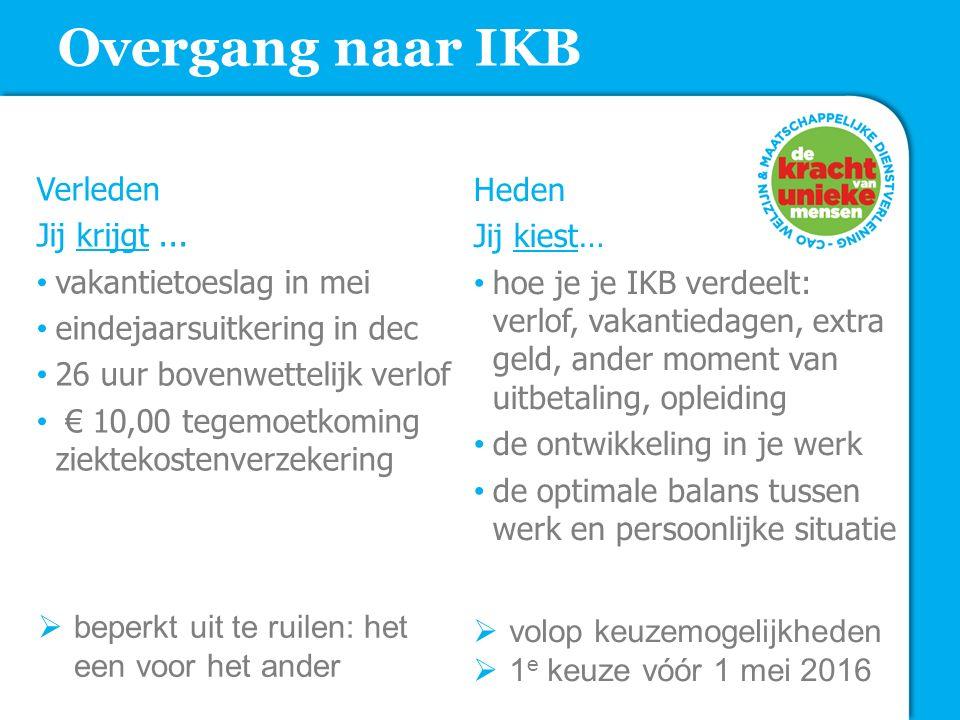 Overgang naar IKB Verleden Jij krijgt... vakantietoeslag in mei eindejaarsuitkering in dec 26 uur bovenwettelijk verlof € 10,00 tegemoetkoming ziektek