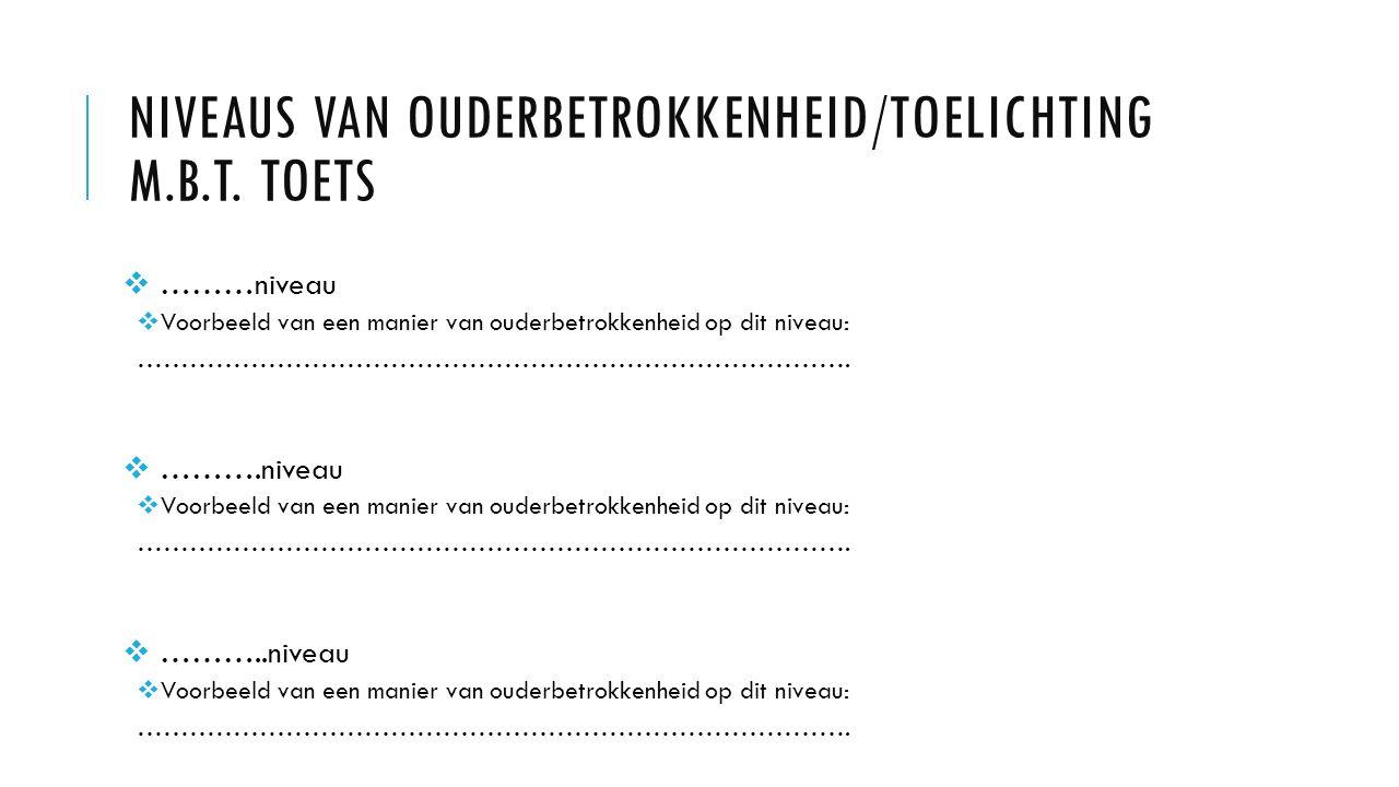 NIVEAUS VAN OUDERBETROKKENHEID/TOELICHTING M.B.T.