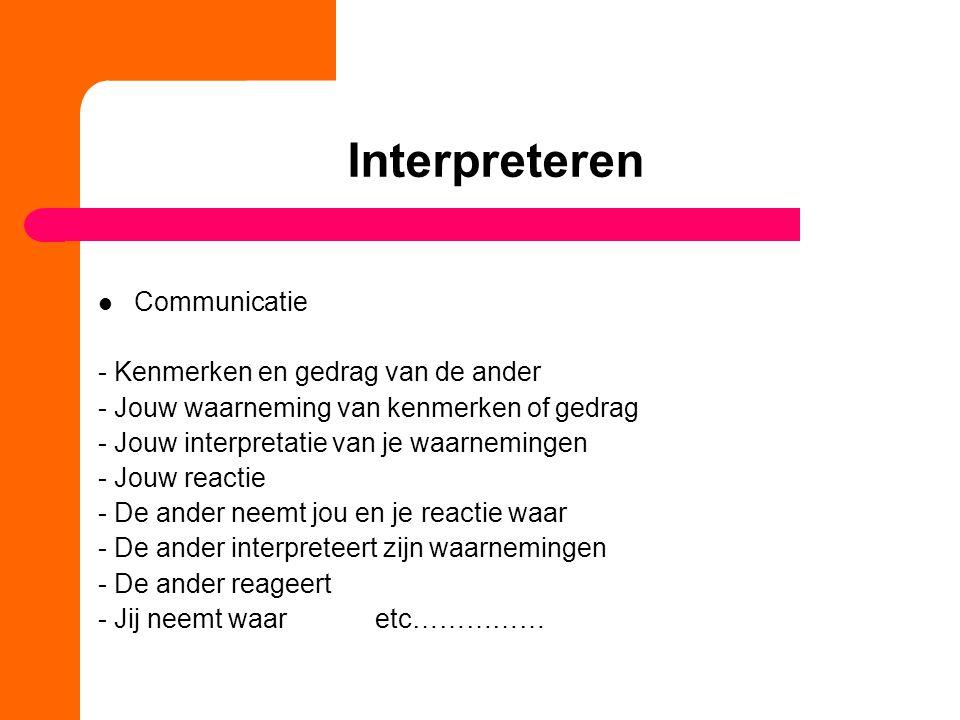 Interpreteren Communicatie - Kenmerken en gedrag van de ander - Jouw waarneming van kenmerken of gedrag - Jouw interpretatie van je waarnemingen - Jou