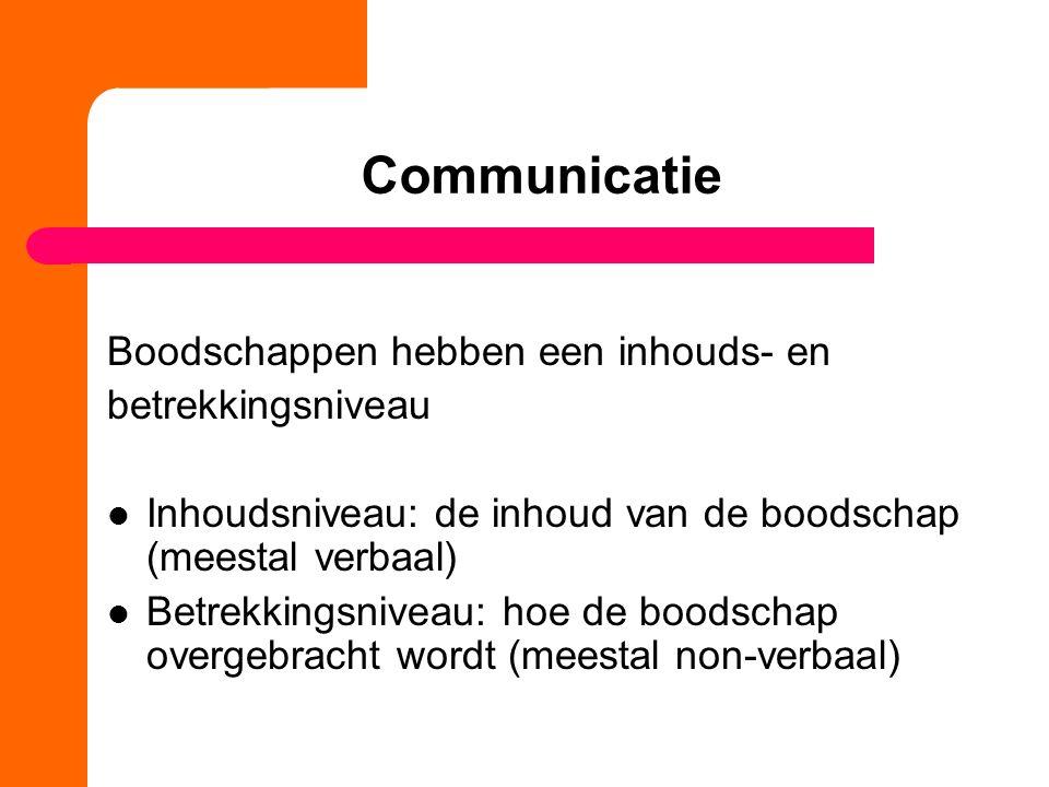 Communicatie Boodschappen hebben een inhouds- en betrekkingsniveau Inhoudsniveau: de inhoud van de boodschap (meestal verbaal) Betrekkingsniveau: hoe
