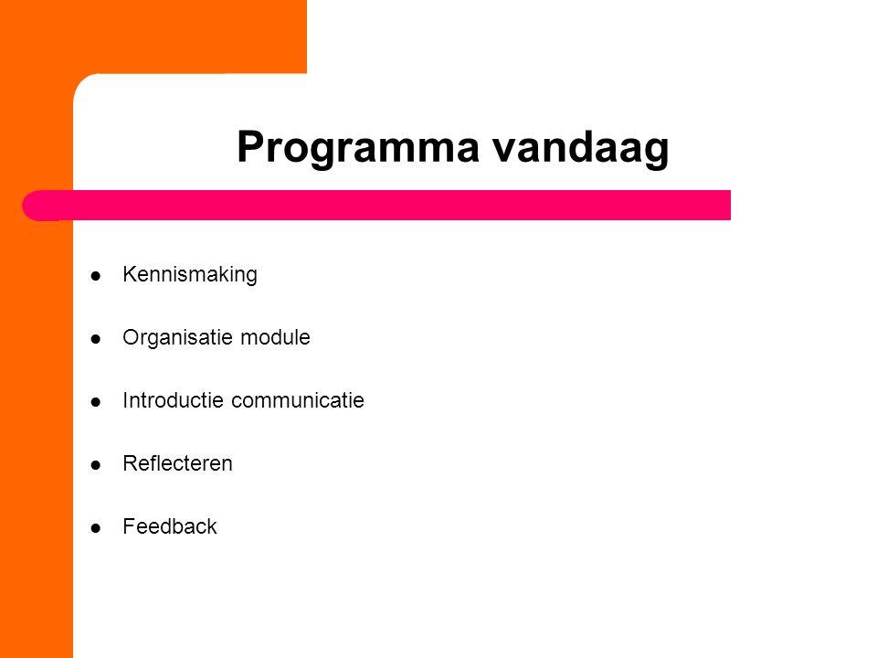 Programma vandaag Kennismaking Organisatie module Introductie communicatie Reflecteren Feedback