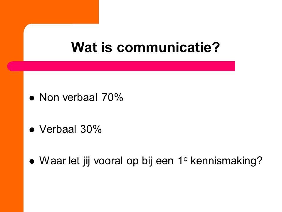 Wat is communicatie? Non verbaal 70% Verbaal 30% Waar let jij vooral op bij een 1 e kennismaking?