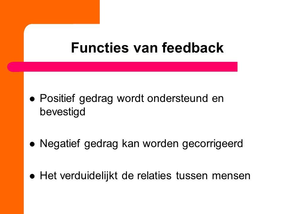 Functies van feedback Positief gedrag wordt ondersteund en bevestigd Negatief gedrag kan worden gecorrigeerd Het verduidelijkt de relaties tussen mens