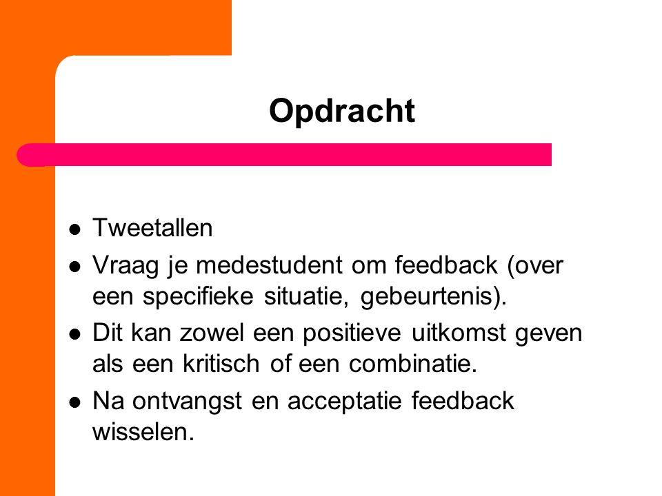 Opdracht Tweetallen Vraag je medestudent om feedback (over een specifieke situatie, gebeurtenis). Dit kan zowel een positieve uitkomst geven als een k