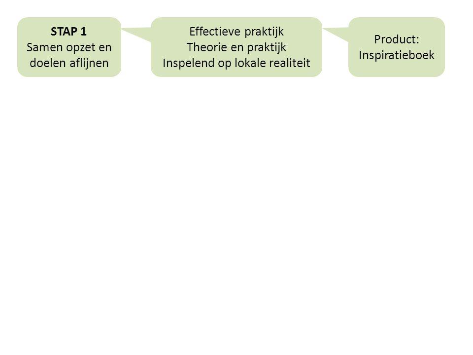 STAP 1 Samen opzet en doelen aflijnen Effectieve praktijk Theorie en praktijk Inspelend op lokale realiteit Product: Inspiratieboek