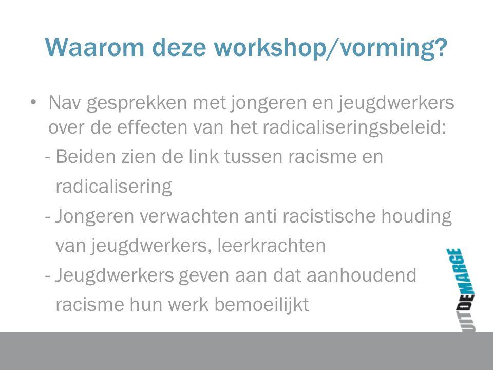 Waarom deze workshop/vorming.