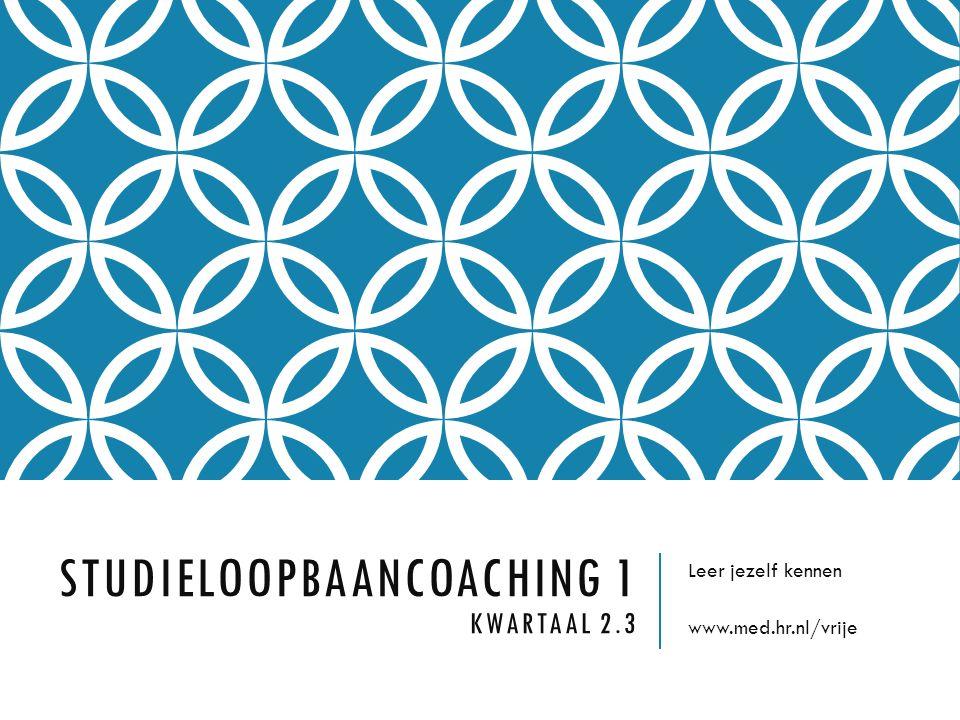 STUDIELOOPBAANCOACHING 1 KWARTAAL 2.3 Leer jezelf kennen www.med.hr.nl/vrije