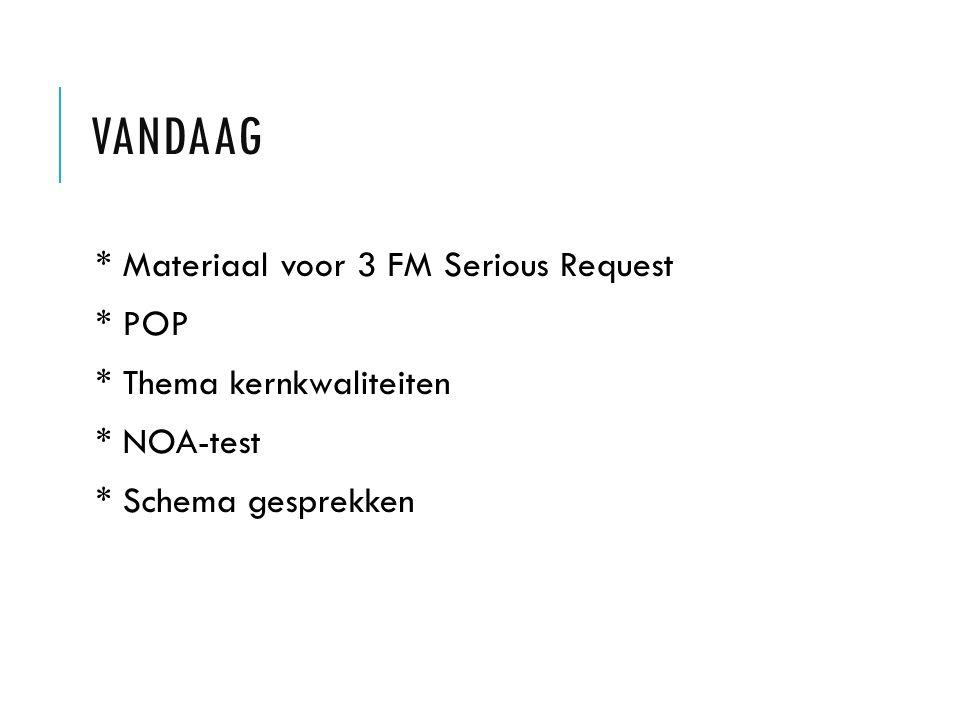 VANDAAG * Materiaal voor 3 FM Serious Request * POP * Thema kernkwaliteiten * NOA-test * Schema gesprekken