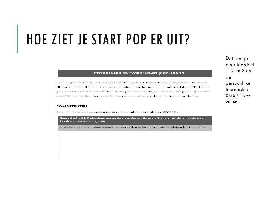 HOE ZIET JE START POP ER UIT? Dat doe je door leerdoel 1, 2 en 3 en de persoonlijke leerdoelen SMART in te vullen.
