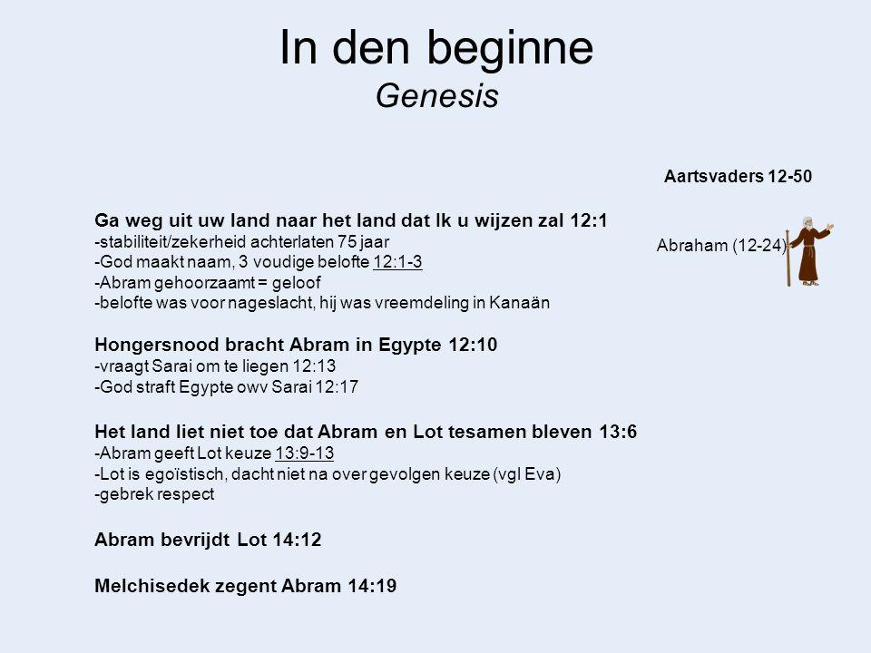 In den beginne Genesis Abraham (12-24) Aartsvaders 12-50 God, ik ben kinderloos 15:1-4 -nakomelingen 400 jaar verdrukt in vreemd land 15:13 -zullen terugkeren als maat van zonde vol is 15:16 God heeft me niet vergund te baren 16:2 -Mss zal God mij kinderen geven uit mijn slavin 16:2 -Abram luisterde naar Sarai (vgl Adam) -werkte wel maar was niet Gods wil -Hagar verachte haar meesteres 16:4 -ze voelde zich beter dan Sarai (probleem zwanger worden lag bij Sarai) -Sarai boos op Abram, vernedert Hagar 16:5-6 Wat verwachten we dat er gebeurt als we God niet vertrouwen en het heft in eigen handen nemen.