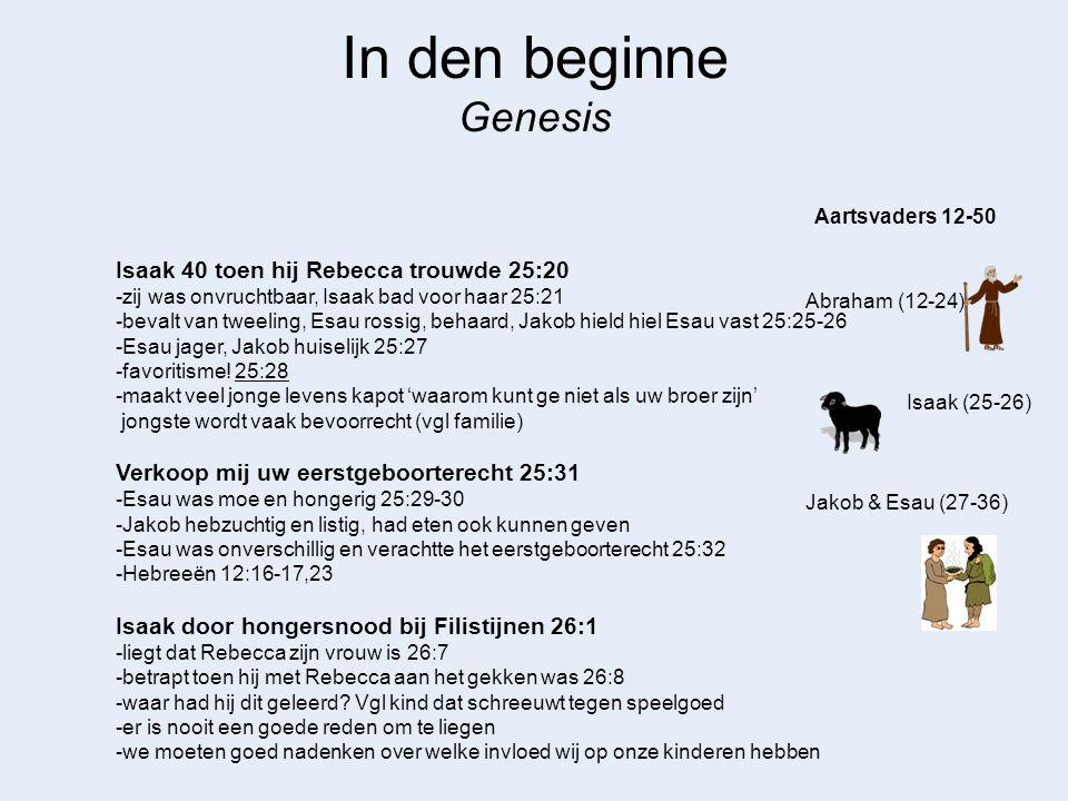 In den beginne Genesis Abraham (12-24) Aartsvaders 12-50 Isaak (25-26) Isaak wordt rijk door Gods zegen 26:12 -betekent niet dat hij alles goed deed -Abimelek vraagt hem om uit zijn gebied te gaan 26:16 Esau neemt 2 Hethietische vrouwen, tot ergernis van Isaak & Rebecca 26:34-35 Isaak is oud, slechtziend en denkt dat hij gaat sterven 27:1-2, 3-4 -Rebecca hoort hoe Isaak Esau wil zegenen, maar nog eerst wilde eten 27:5 -Geeft Jakob opdracht om geitebokjes te gaan halen zodat hij de zegen kon ontvangen ipv Esau 27:9-10 -Jakob maakt zich zorgen om zijn onbehaardheid 27:11 -Jakob komt bij vader en liegt als zijn vader hem vraagt wie hij is 27:19 -ontvangt zegen 27:28-29 -Esau komt terug van jacht en hoort dat Jakob zegen heeft gekregen 27:34-36 -Later vindt Jakob het zelf niet fijn als hij bedrogen wordt door Laban 29:25 Esau koestert wrok en besluit hem te doden als Isaak sterft 27:41 Jakob & Esau (27-36)