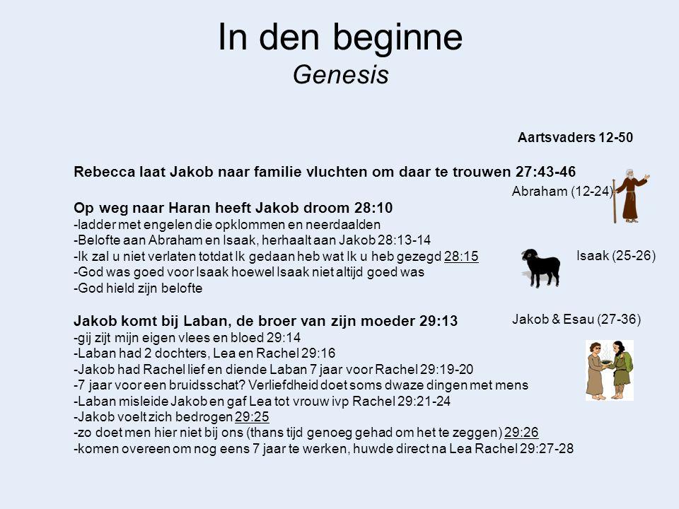 In den beginne Genesis Abraham (12-24) Aartsvaders 12-50 Isaak (25-26) Competitie tussen Lea en Rachel om kinderen -Lea was niet bemind, God opende haar schoot 29:31 -Ruben eerstegeborene, nu zal mijn man mij liefhebben 29:32 -Rachel jaloers op Lea en zegt Jakob 'geef mij kinderen' 30:1 -geeft slavin Bilha aan Jakob -de liefdesappelen van Ruben 30:14-16 -Rachel baart uiteindelijk Jozef met Gods hulp 30:22-24 -zwangerschap is geen goede manier om liefde van uw partner te vragen -polygamie is niet wat God wil en brengt veel ellende met zich mee Jakob & Esau (27-36)