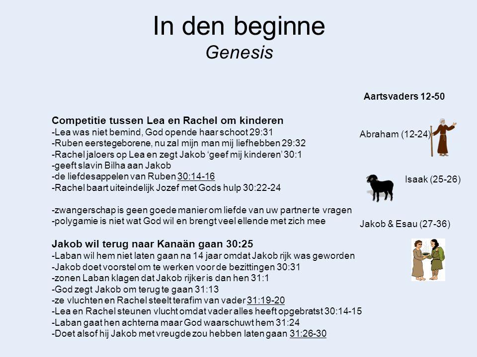 In den beginne Genesis Abraham (12-24) Aartsvaders 12-50 Isaak (25-26) Gij hebt mijn goden gestolen 31:31 -Jakob zegt dat de dief mag worden gedood 31:32 -Rachel was op terafim gaan zitten en loog 31:34-35 De god van Laban kon worden gestolen, verstopt en op gezeten Verbond tussen Laban en Jakob 31:43-45 Jakob is bang om Esau te ontmoeten 32:7 -had boodschappers uitgestuurd 32:3-5 -deze lieten weten dat Esau met 400 man onderweg was 32:6 -angst drijft Jakob naar God 32:9-12 -mensen moeten soms in moeilijke omstandigheden komen om nederig en bewust te worden -verdeelde vee in twee groepen en stuurden het vee vooruit als geschenk 32:13-21 Jakob worstelt 's nachts met man en vraagt zijn zegen 32:24-26 -Jakob wordt Israel 32:28 -Waarom wint God het gevecht niet.