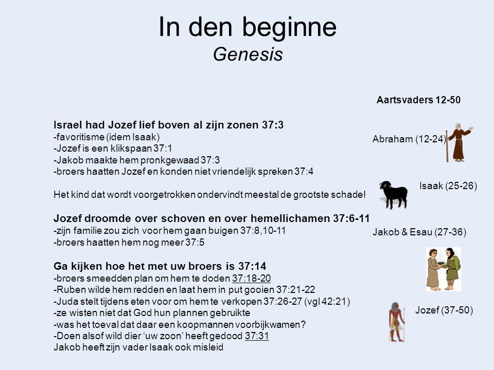 In den beginne Genesis Abraham (12-24) Aartsvaders 12-50 Jozef (37-50) Jakob & Esau (27-36) Isaak (25-26) Israel had Jozef lief boven al zijn zonen 37