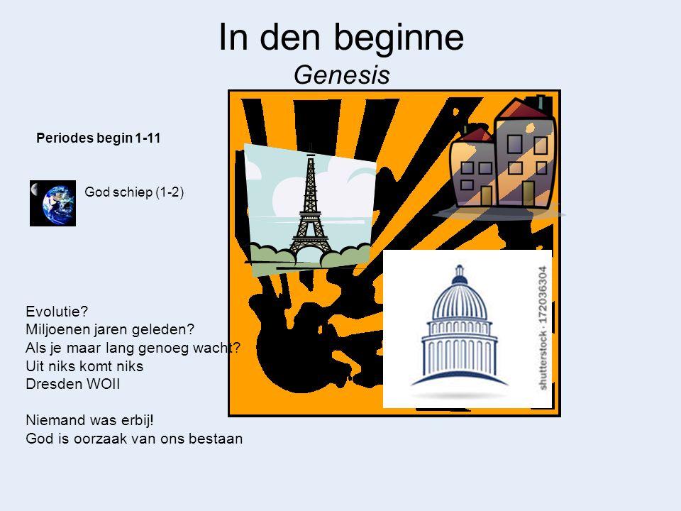 In den beginne Genesis God schiep (1-2) Periodes begin 1-11 Evolutie? Miljoenen jaren geleden? Als je maar lang genoeg wacht? Uit niks komt niks Dresd