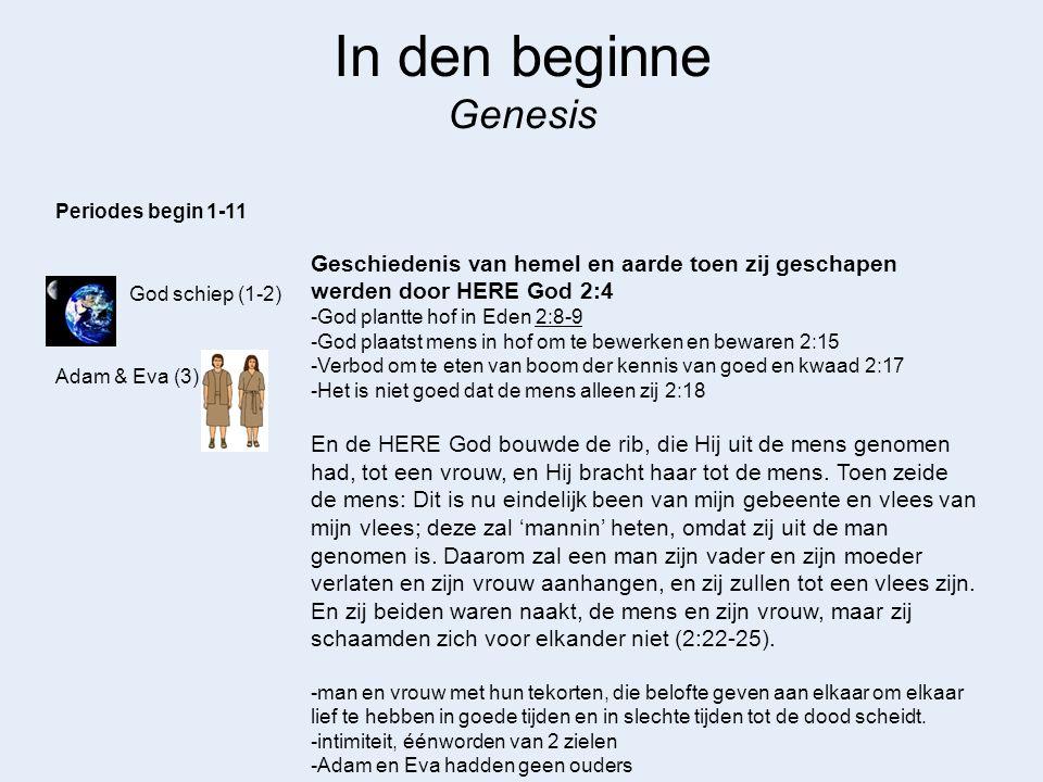 In den beginne Genesis God schiep (1-2) Adam & Eva (3) Periodes begin 1-11 Geschiedenis van hemel en aarde toen zij geschapen werden door HERE God 2:4