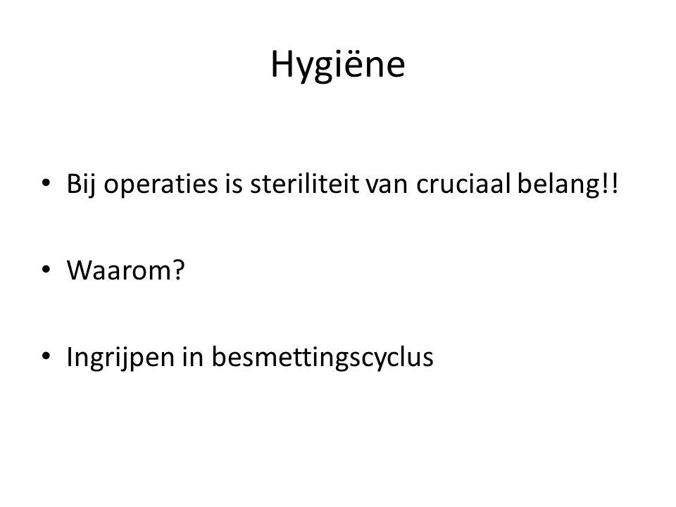 Bij operaties is steriliteit van cruciaal belang!! Waarom? Ingrijpen in besmettingscyclus