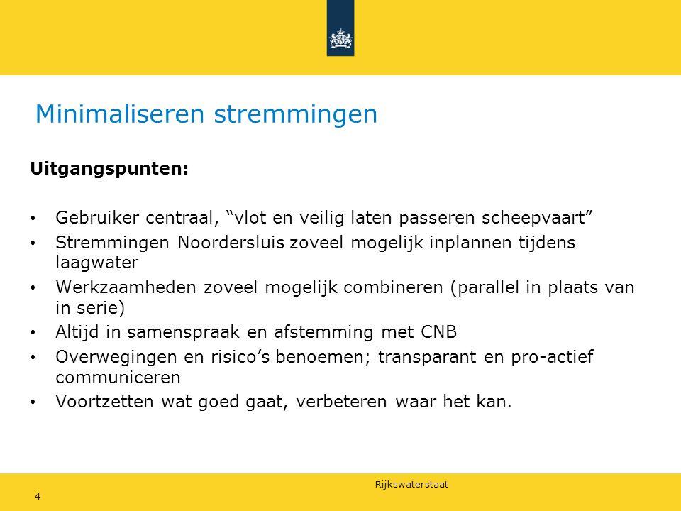 """Rijkswaterstaat Minimaliseren stremmingen Uitgangspunten: Gebruiker centraal, """"vlot en veilig laten passeren scheepvaart"""" Stremmingen Noordersluis zov"""
