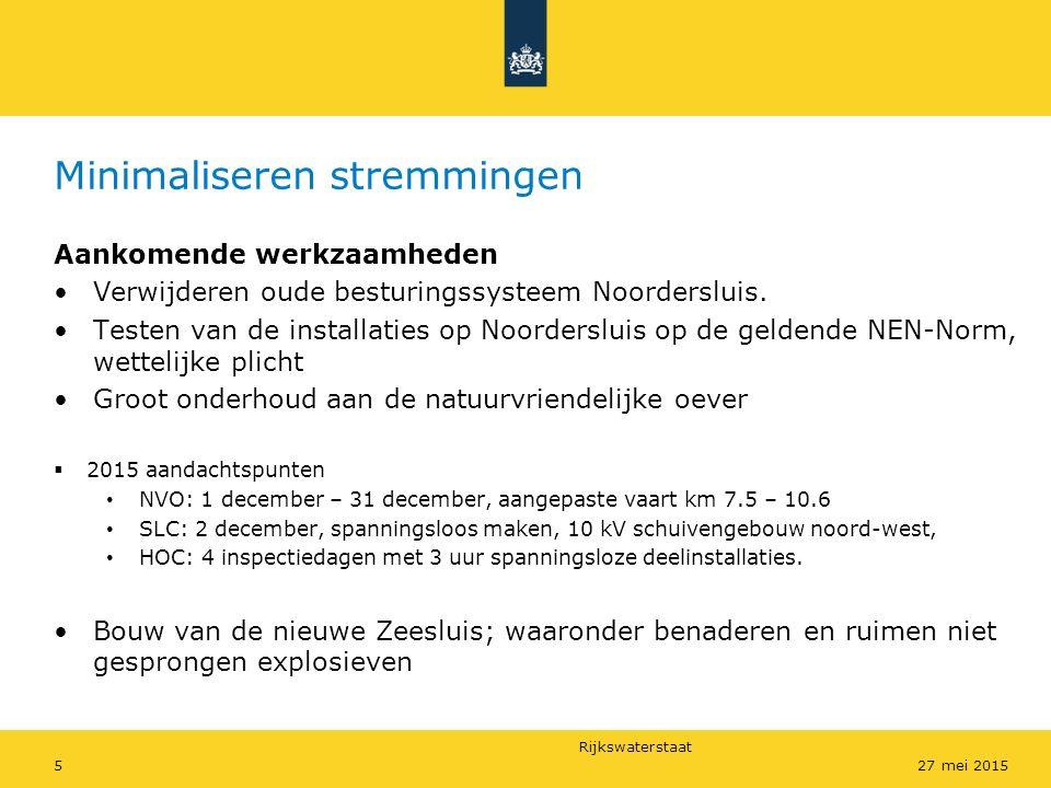 Rijkswaterstaat Minimaliseren stremmingen Aankomende werkzaamheden Verwijderen oude besturingssysteem Noordersluis. Testen van de installaties op Noor