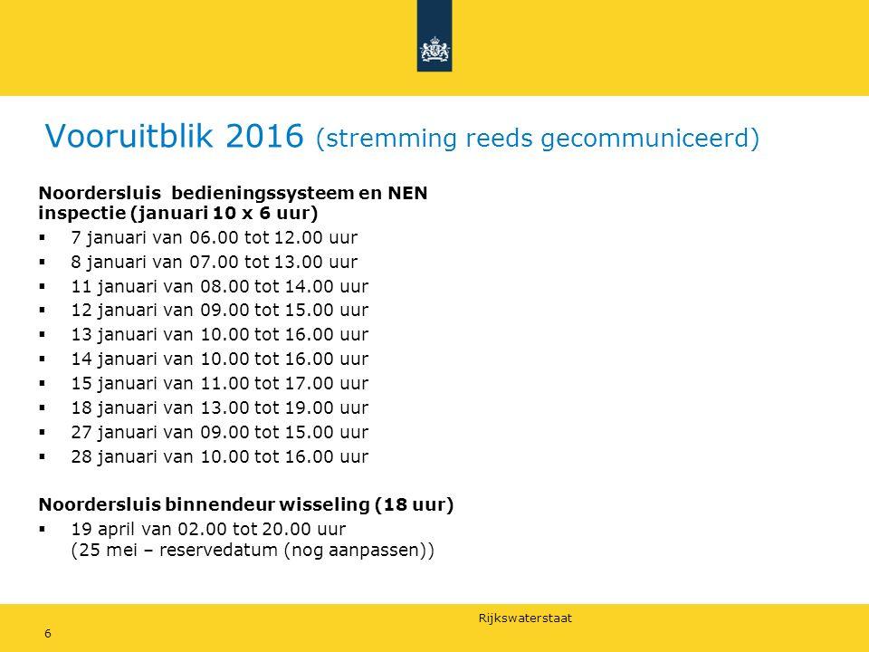 Rijkswaterstaat Vooruitblik 2016 (stremming reeds gecommuniceerd) Noordersluis bedieningssysteem en NEN inspectie (januari 10 x 6 uur)  7 januari van