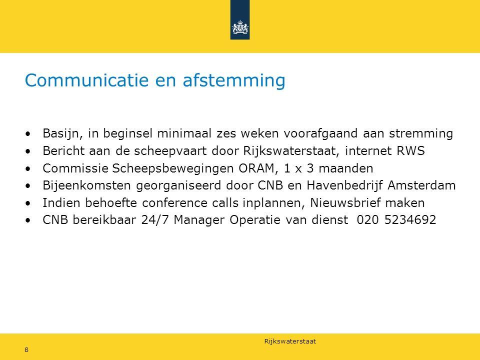 Rijkswaterstaat Communicatie en afstemming 8 Basijn, in beginsel minimaal zes weken voorafgaand aan stremming Bericht aan de scheepvaart door Rijkswat