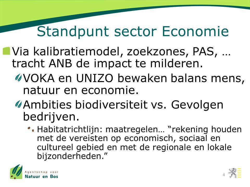 Standpunt sector Economie Via kalibratiemodel, zoekzones, PAS, … tracht ANB de impact te milderen.