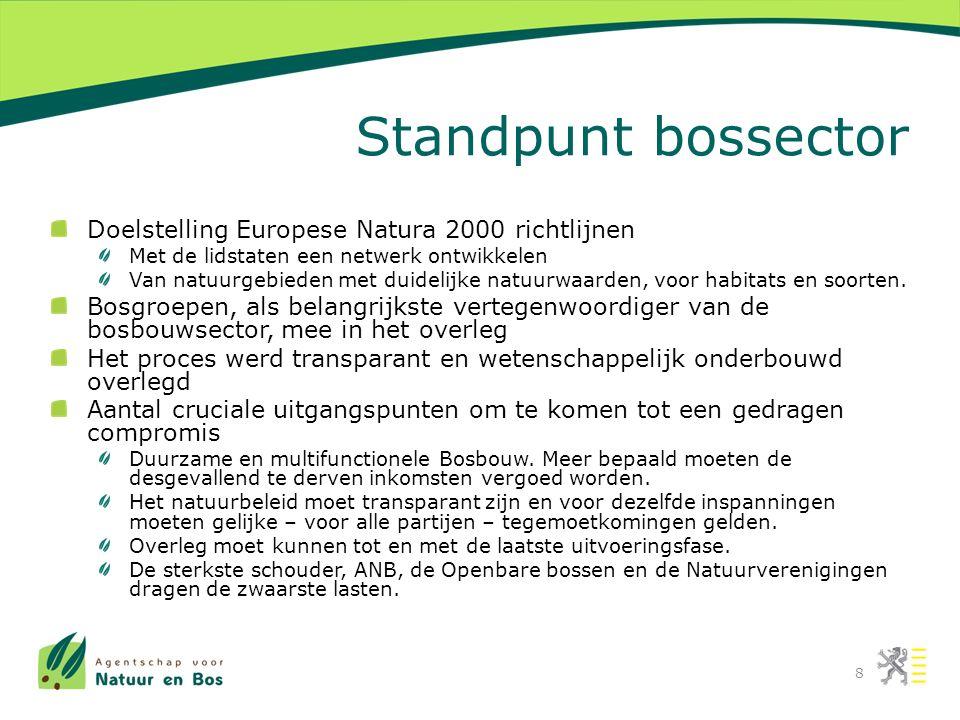 Standpunt bossector Doelstelling Europese Natura 2000 richtlijnen Met de lidstaten een netwerk ontwikkelen Van natuurgebieden met duidelijke natuurwaarden, voor habitats en soorten.
