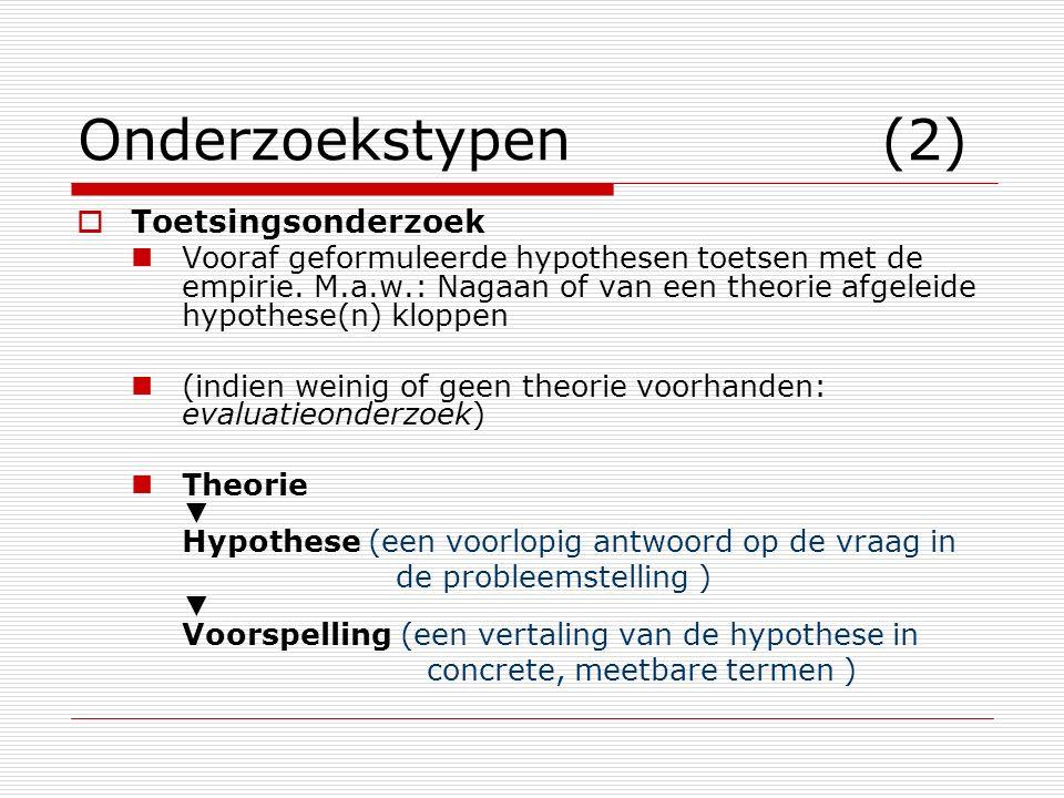 Onderzoekstypen (2)  Toetsingsonderzoek Vooraf geformuleerde hypothesen toetsen met de empirie. M.a.w.: Nagaan of van een theorie afgeleide hypothese