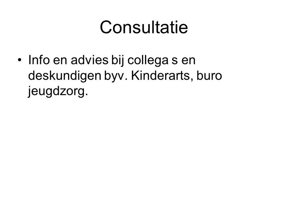 Consultatie Info en advies bij collega s en deskundigen byv. Kinderarts, buro jeugdzorg.