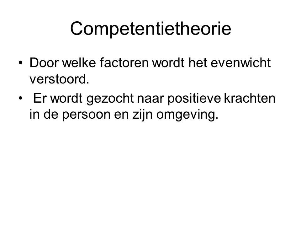 Competentietheorie Door welke factoren wordt het evenwicht verstoord. Er wordt gezocht naar positieve krachten in de persoon en zijn omgeving.