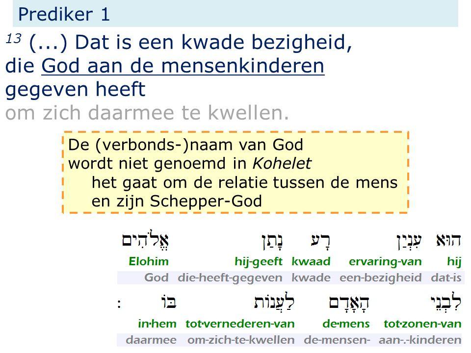 Prediker 1 13 (...) Dat is een kwade bezigheid, die God aan de mensenkinderen gegeven heeft om zich daarmee te kwellen. De (verbonds-)naam van God wor