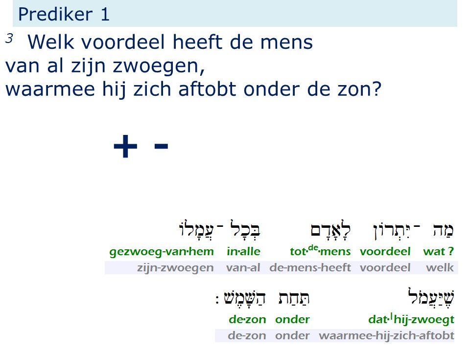 Prediker 1 3 Welk voordeel heeft de mens van al zijn zwoegen, waarmee hij zich aftobt onder de zon? + -